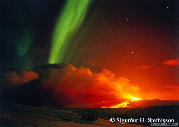 Volcanic Eruption and Aurora Borealis