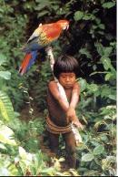 Tribal Child And His Macaw
